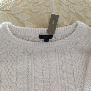 J Crew White 100% Cotton Sweater